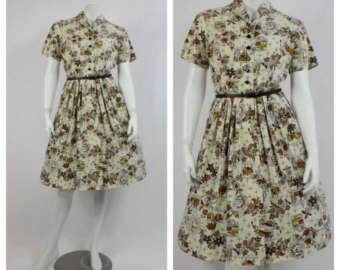 1950's Novelty Print Day Dress - 50's Shirtwaist Dress - Vintage Rockabilly Dress - Pin Up Girl Cotton Dress -  Mad Men Dress - Size 8 to 10