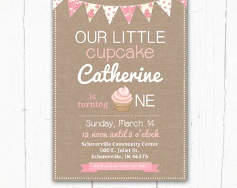 Birthday Invitation, Our little Cupcake, Bunting, 1st, 2nd, 3rd, Girls Childrens Birthday Party Invitation – Printable Digital file
