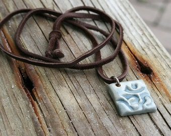 OM pendant, ceramic pendant, yoga jewelry, om necklace, yoga gift, Hindu, Buddhist symbol, spirituality, yoga studio, gender neutral, yoga