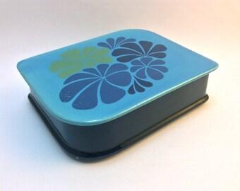 Vintage mid-century dark purple and pale blue ceramic jewel box or treasure box with retro floral decor