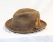 Pendleton Fedora Hat - Brown Wool - X-Large 7 1/2 - 7 5/8 - Vintage 1950s