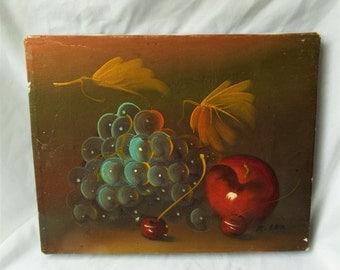 Vintage Still Life Fruit Painting Original Art Signed R. Con