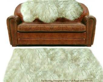 Faux Fur Sheepskin Rug - Shaggy Soft - Thick Off White Shag - Fur Accents Designer Rugs and Throws USA