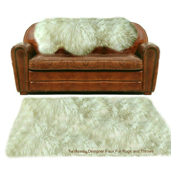Faux Fur Sheepskin Rug Shaggy Soft Thick Off White Shag