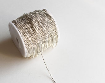 330ft Silver 2.4mm Ball Chain Spool - Silver Plated - 100m - Ships IMMEDIATELY from California - CH601