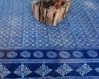Square Tablecloth In Hmong Indigo Batik Naturally Dyed Cotton 60, 75 Or 90 Inch - Free Worldwide Shipping