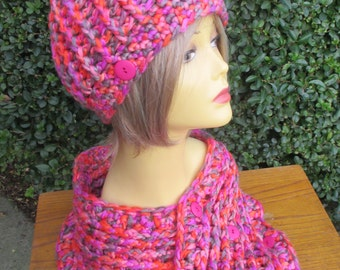 Ribbed style hat and cowl in bright pinks