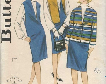 Butterick 3182  Dress jumper pinafore v neckline cowl collar blouse long sleeves boxy jacket with/out sleeves Size 14 (uncut) sewing pattern