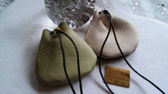Two Soft Leather Pouches, 2.5x2.5 inches Each, Drawstring Closures.,Metallic Crow Bead,Many Uses, Great Gift, Includes Both Pouches