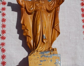 Antique  SACRED HEART of JESUS Statue  From the Sacred Heart Enthronement Center  founded by Father Mateo