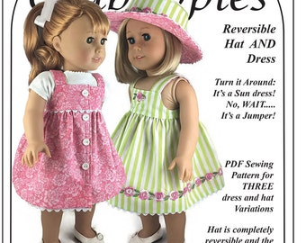 "Fun in the Sun PDF Sewing Pattern for 18"" dolls Hat and Dress Bundle"