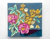 Modern bright flower still life painting original art - From a Table in Chelsea