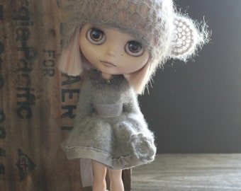 Pale Brown Long Cashmere Cardigan/Dress and Matching Socks
