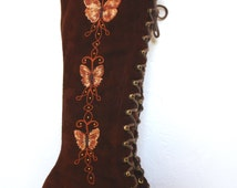 Vintage Penny Lane Embroidered Brown Suede Lace-Up Boots