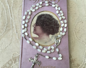 Beautiful Vintage Italian Rosary with Sterling Silver Crucifix and Mother-of-Pearl Beads