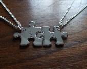Two Silver Puzzle Pendants, Best Friends Necklaces Pendants 2 Medium Size