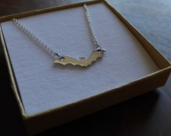 Silver Bat Pendant Necklace