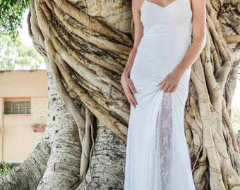 Boho Wedding Dress Lace Wedding Dress Low Back Wedding Dress Bohemian Wedding Dress Beach Wedding Dress See See through Wedding Dress