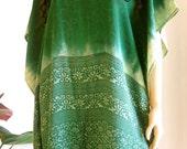 Silk Kaftan, Green Caftan, Cover up, Summer Dress