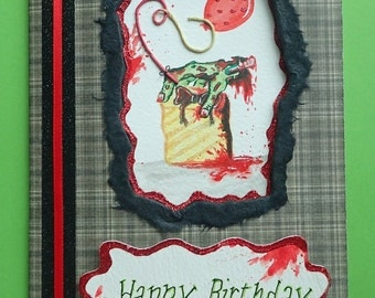 Handmade/Painted Horror/GORY/Zombie Peep-Hole Birthday Card