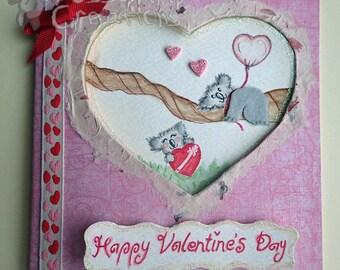 Handmade/Painted Fluffy Koala Valentine's Card