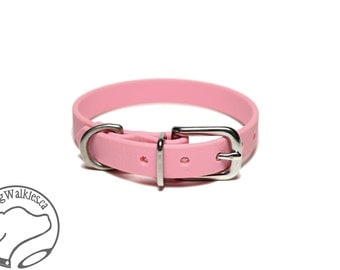 "Bubblegum Pastel Pink Little Dog Collar - 1/2"" (12mm) Thin Biothane Dog Collars - Waterproof Small Dog Collar"