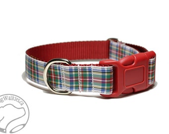 """Dress Stewart Tartan Dog Collar // 1"""" (25 mm) Wide // Martingale or Quick Release // Choice of collar style and size // White Tartan"""