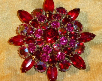 Glamorous Vintage Weiss Siam Red, Aurora Borealis Red Crystal Brooch, Ca. 1950's