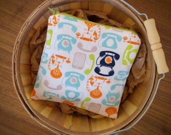 Reusable Snack Bag, telephone fabric, food safe nylon, zipper pouch