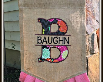 Burlap Garden Flag, Personalized Garden Flag, Monogrammed Garden Flag, Embroidery and Applique, Personalized Flag