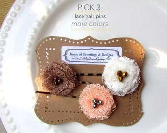 3 Shabby Lace Fabric Flower Girl Hair Clips Toddler Baby Hair Flowers, Country Chic Peach Wedding Floral Hair Pins Small, Ivory Cream, Brown