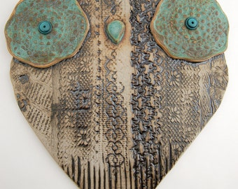 "Ceramic owl wall hanging, SECOND, large ceramic owl wall decor, owl wall art, hand built, ""Magda"""