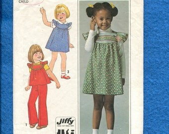 Vintage 1970's Simplicity 7904 Country Girl Ruffled Shoulder Sun Dress or Top Pattern Size 3..4 Girls