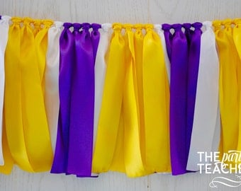 Purple Yellow Bunting - FREE Shipping - Graduation Party - Graduation Bunting - LSU Bunting - Team Bunting - Football Bunting - Party Decor