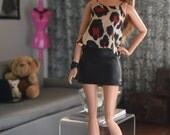 Two-tone Faux Leather Mini Skirt for 12in Fashion Dolls