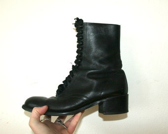 Black Leather Boots / Lace Up Boots / Witch Sz 8.5 8 9