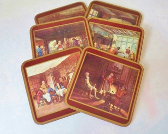 Set of Six Colonial Pimpernel Coasters in Box, Acrylic Coasters Made in England