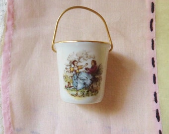 Miniature Limoges Bucket, Tiny Porcelain Pail with Courting Couple