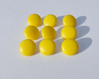 """Nine Lemon Yellow Sweater Buttons from the 40's, 5/8"""" Blouse Buttons"""