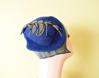 Vintage c. 1940's Blue Velour Pixie Fascinator | Heart Appliques  Mini Hat