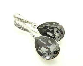 Bridal Earrings Swarovski Crystal Black Crystal Earrings Dark Grey Earrings Black Earrings Bridesmaid Gifts Dangle Earrings Wedding jewelry