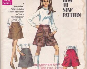 1960s A-line Skirt & Shorts Pattern Simplicity 8418 Size 15/16 Waist 27