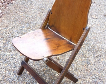 1940's Army Wooden Folding Chair Vintage 18th Engineer Co Industrial Office American Seating Co
