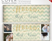DIY Facebook Cover Image - Gilded Chevron Facebook Timeline Template - Gold Facebook Profile Image ZigZag Page Header Photograph Photography