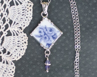 Necklace, Broken China Jewelry, Broken China Necklace, Purple Roses, Sterling Silver, Soldered Jewelry