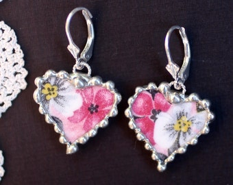 Earrings, Broken China Jewelry, Broken China Earrings, Pink and Grey Floral, Dangle Earrings, Sterling Sliver, Soldered Jewelry