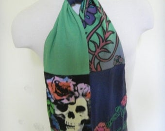 Day of the Dead Scarf from Upcycled T-Shirts