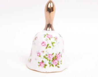 Vintage Pink Wild Rose Bell Enesco Made in Japan White Porcelain Gold Handle