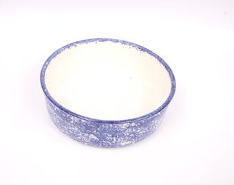 Vintage Blue Stoneware Bowl Sponge Painted Wedgewood Blue Mixing Bowl Serving Dish Indigo Blue Fruit Bowl