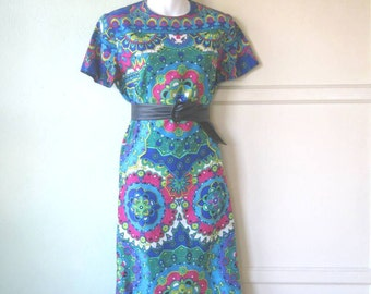 Richly Saturated Vintage Mandala Print Dress~Turquoise, Fuchsia, Green & Cobalt Dress; Midi Length; Medium~Free Shipping/U.S.
